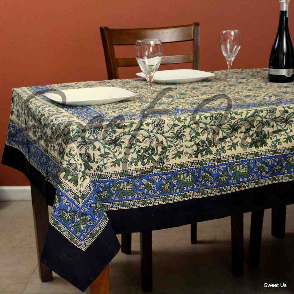 Cotton Elephant Floral Tablecloth Rectangle Red Blue Green Black Beige