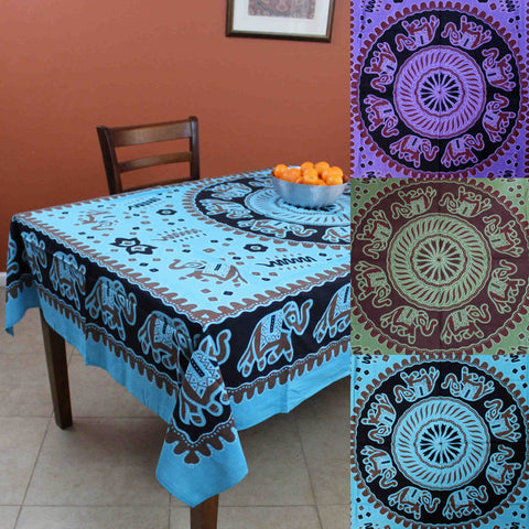 Handmade Elephant Mandala Cotton Tablecloth Rectangular 60 x 90 inches Green Purple Turquoise - Sweet Us