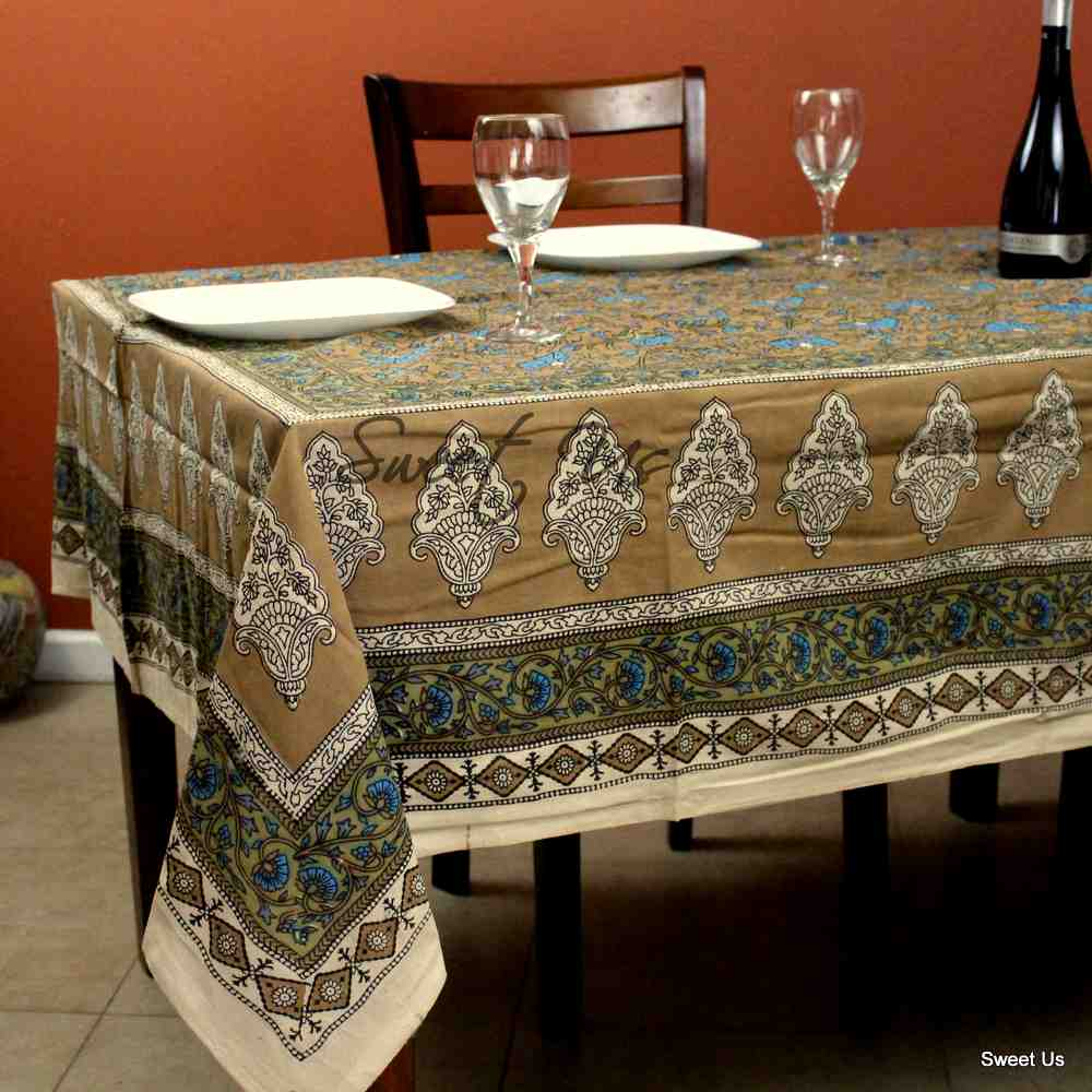 Cotton Floral Tablecloth for Rectangle Tables Turquoise Tan Kitchen Dining Linen