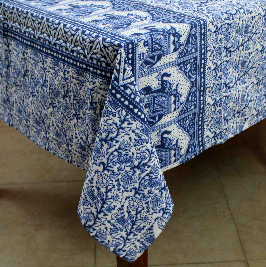 Handmade Floral Elephant Print Cotton Rectangular Tablecloth 60 x 90 inches Blue Green Burgundy Kitchen Table Linen