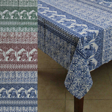 Handmade Floral Elephant Print Cotton Rectangular Tablecloth 60 X 90 Inches Blue  Green Burgundy Kitchen Table
