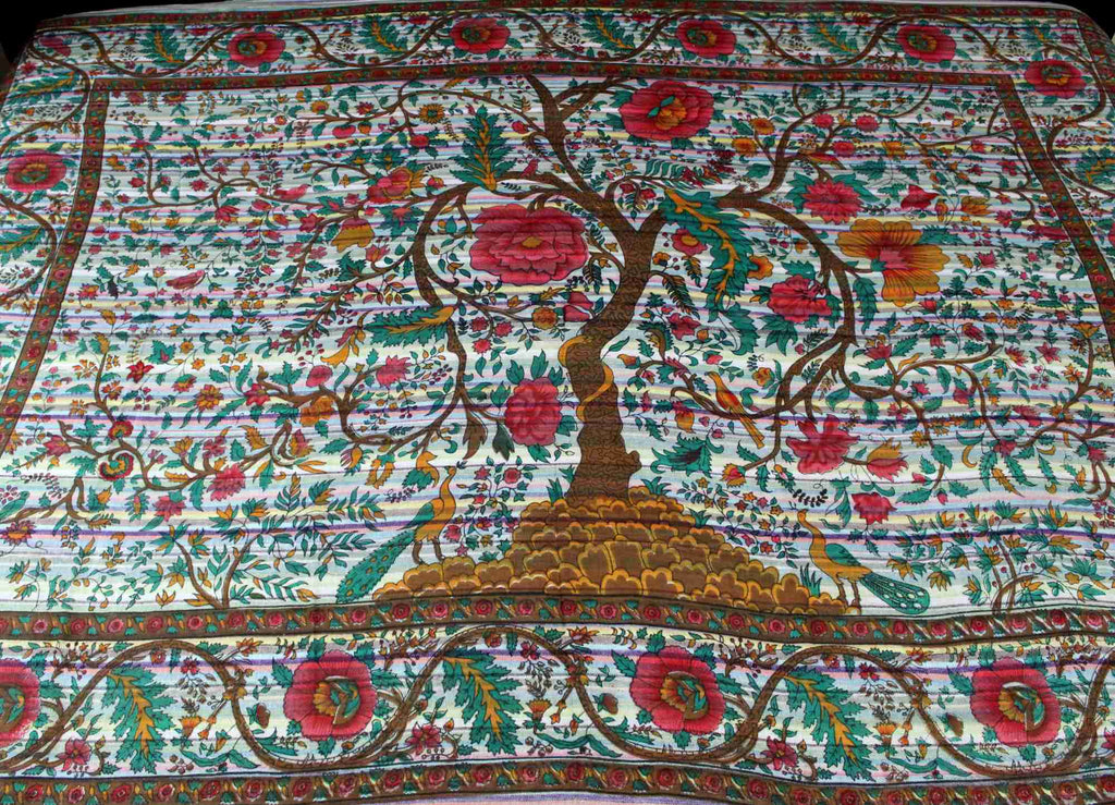 Cotton Tree of Life Tapestry Striped Lightweight Tablecloth Twin 60x90 inches White