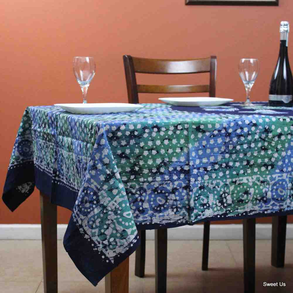 Cotton Batik Tablecloth Rectangle 58x90 Blue Purple Green, Kitchen Table Linen