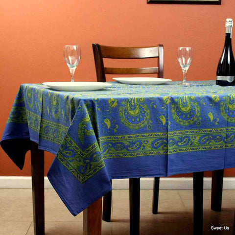 Cotton Floral Paisley Tablecloth Rectangle 58x90 Blue Yellow Green
