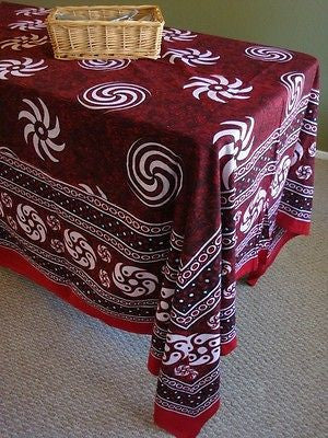 Handmade 100% Cotton Sunflower Spiral Tablecloth Tapestry Spread Maroon 60x88 - Sweet Us