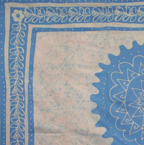 Handmade 100% Cotton Floral Batik Tapestry Tablecloth Throw Coverlet Blue Full