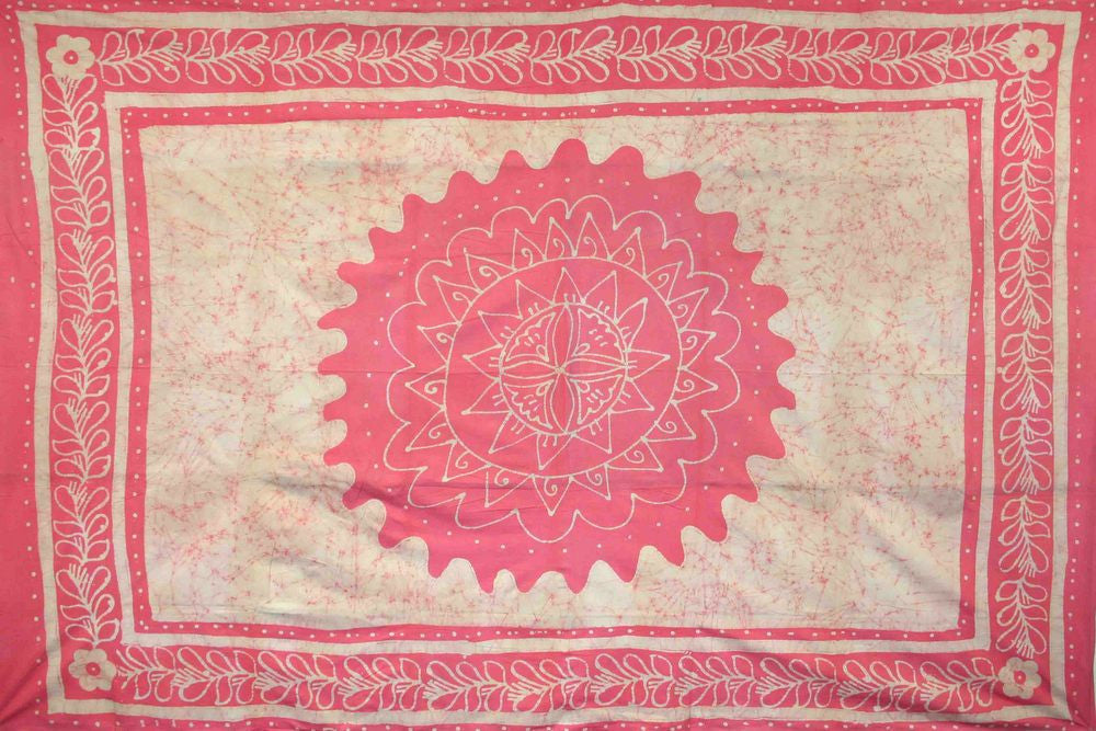 Unique Handmade 100% Cotton Floral Batik Tapestry Tablecloth Bedspread Pink Twin