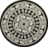 Handmade 100% Cotton Mandala Floral Elephant Tablecloth 72 Inch Round Black White