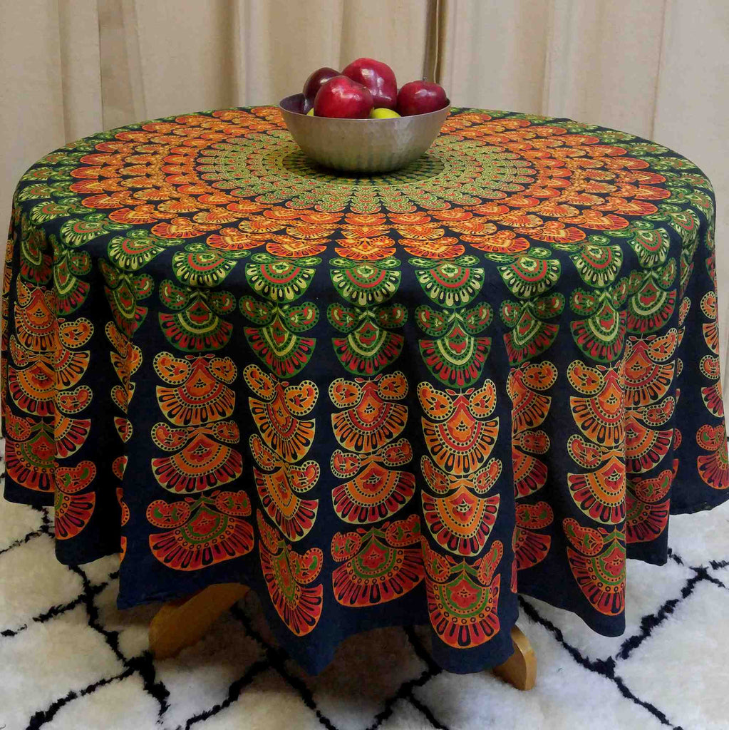 Handmade Sanganeer Peacock Mandala 72 inches Round Cotton Tablecloth Green - Sweet Us