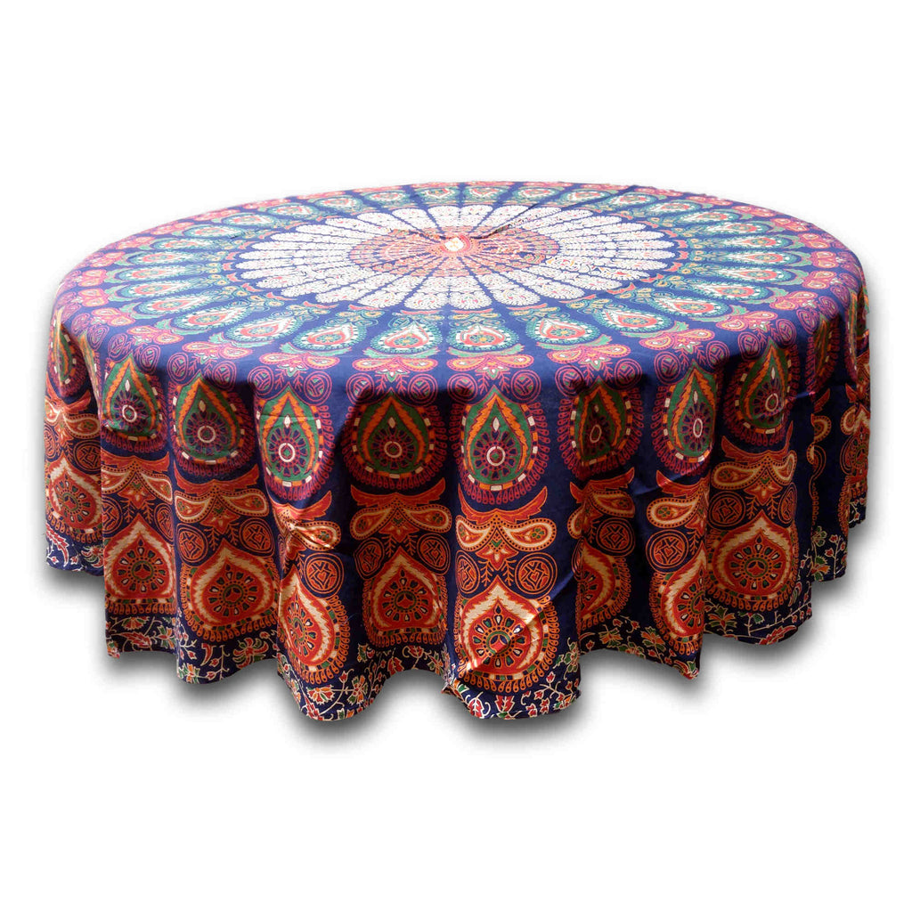Cotton Sanganer Peacock Mandala Round Tablecloth 72 inches Blue Green Red Beige - Sweet Us