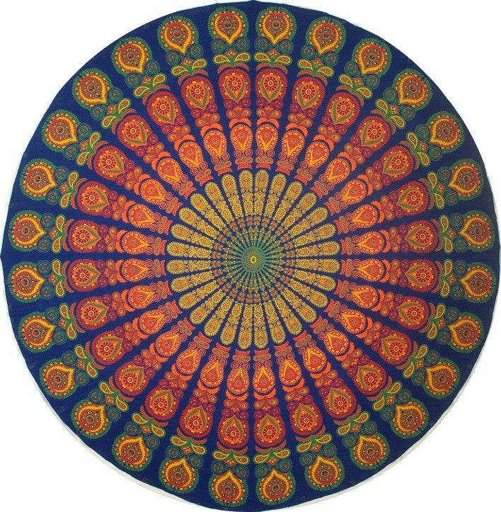"CLEARANCE Handmade Sanganer Peacock Mandala 72"" Round 100% Cotton Tablecloth - Sweet Us"