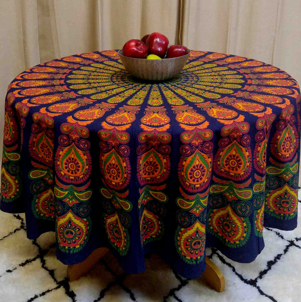Sanganer Peacock Mandala Cotton Round Tablecloth Rectangle 60x90 Rust Gold Green - Sweet Us