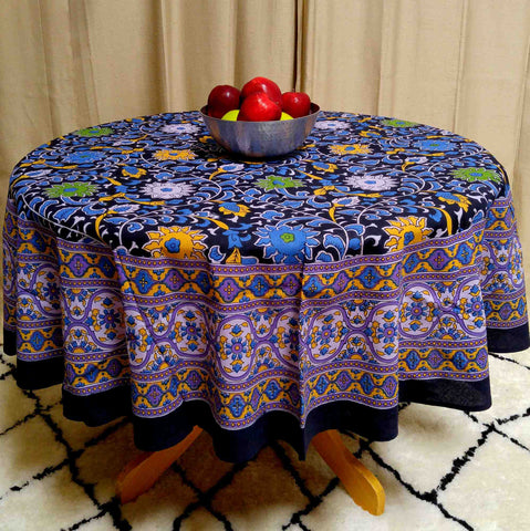 "Handmade Sunflower Print 100% Cotton Tablecloth Round 66"" Round Purple & Black - Sweet Us"
