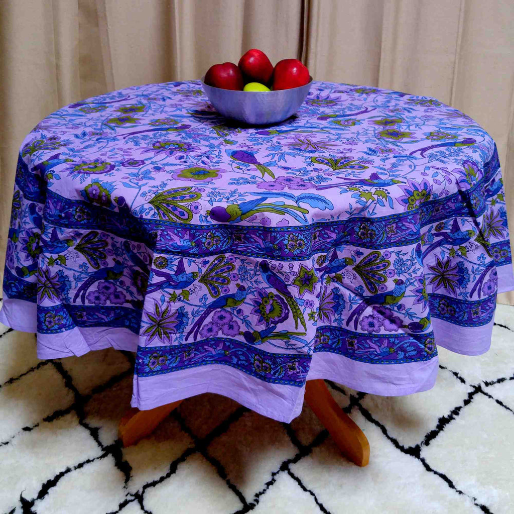 "Handmade Birds of Paradise 100% Cotton Floral Tablecloth 66"" Round Purple - Sweet Us"
