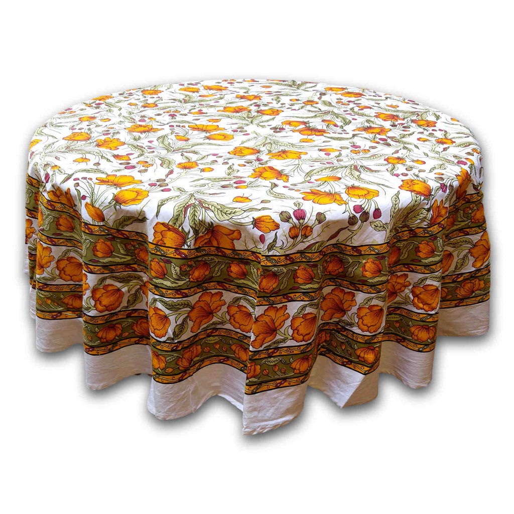Cotton French Floral Tablecloth Round 70 inches Amber & Olive