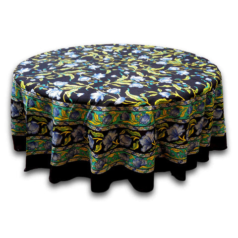 Handmade Cotton French Floral Tablecloth 60 inch & 72 Inch Round Black Blue