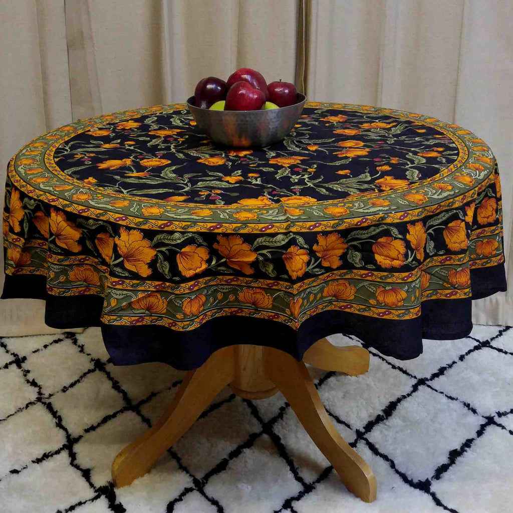 Unique Handmade 100% Cotton French Floral Tablecloth 72 Inch Round Black & Amber - Sweet Us