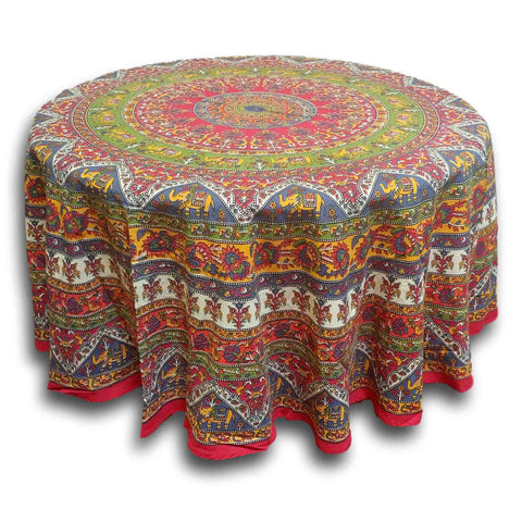 Cotton Elephant Mandala Floral Print Red Green Blue Gold Tablecloth Round - Sweet Us