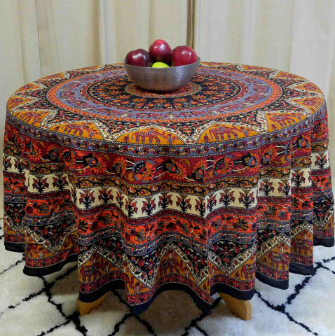 Handmade 100% Cotton Mandala Floral Elephant Tablecloth 76 Inch & 90 Inch Round - Sweet Us