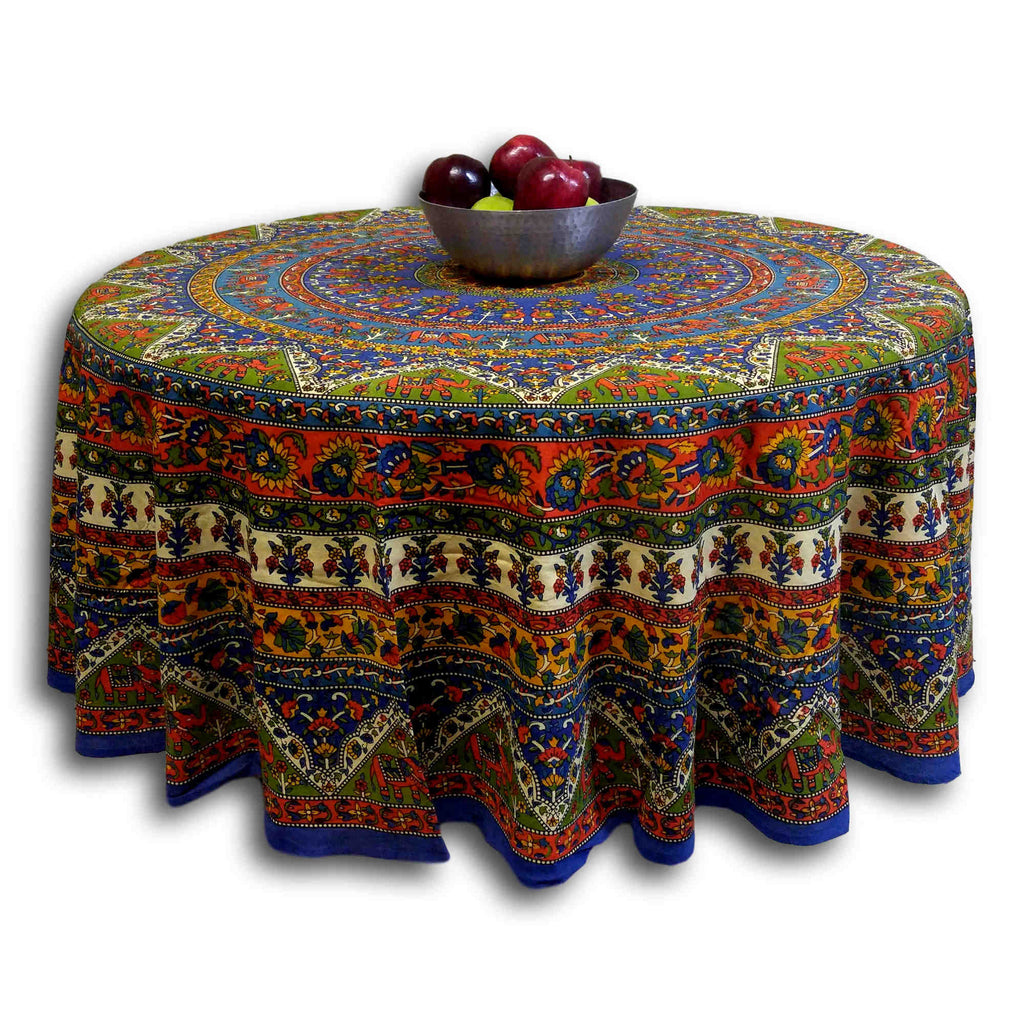 "Handmade Mandala Floral and Elephant Printed Cotton Tablecloth 76"" Round & 90"" Round Blue - Sweet Us"