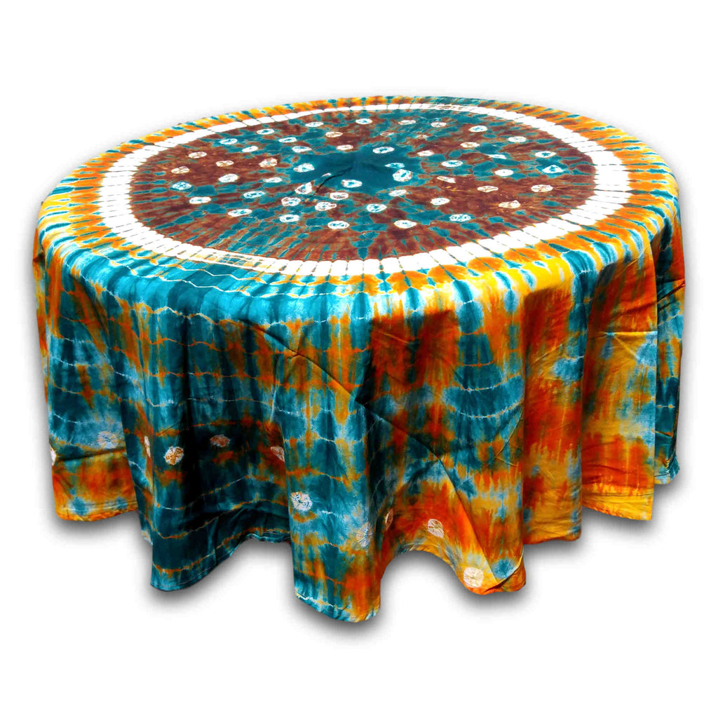 Cotton Bandhani Tie Dye Mandala Tablecloth Round 76 inches Blue Orange Brown - Sweet Us