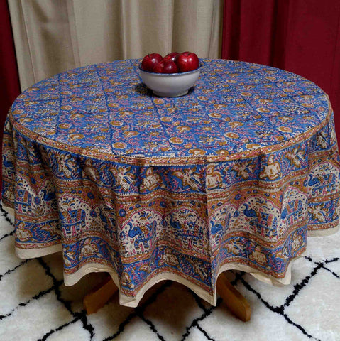 "Handmade Hand Block Print Tablecloth 100% Cotton 72"" Round Blue Gorgeous - Sweet Us"