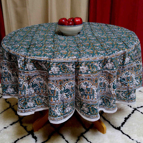 Handmade 100% Cotton Hand Block Print Floral Tablecloth 72 Inch Round Green - Sweet Us