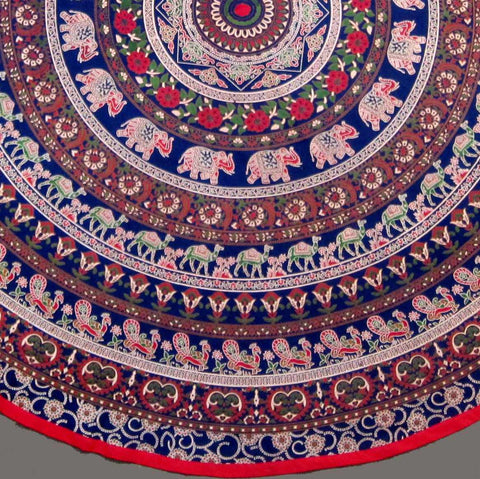 "Handmade 100% Cotton Elephant Mandala Floral 81"" Round Tablecloth Blue Red Green Golden Brown - Sweet Us"