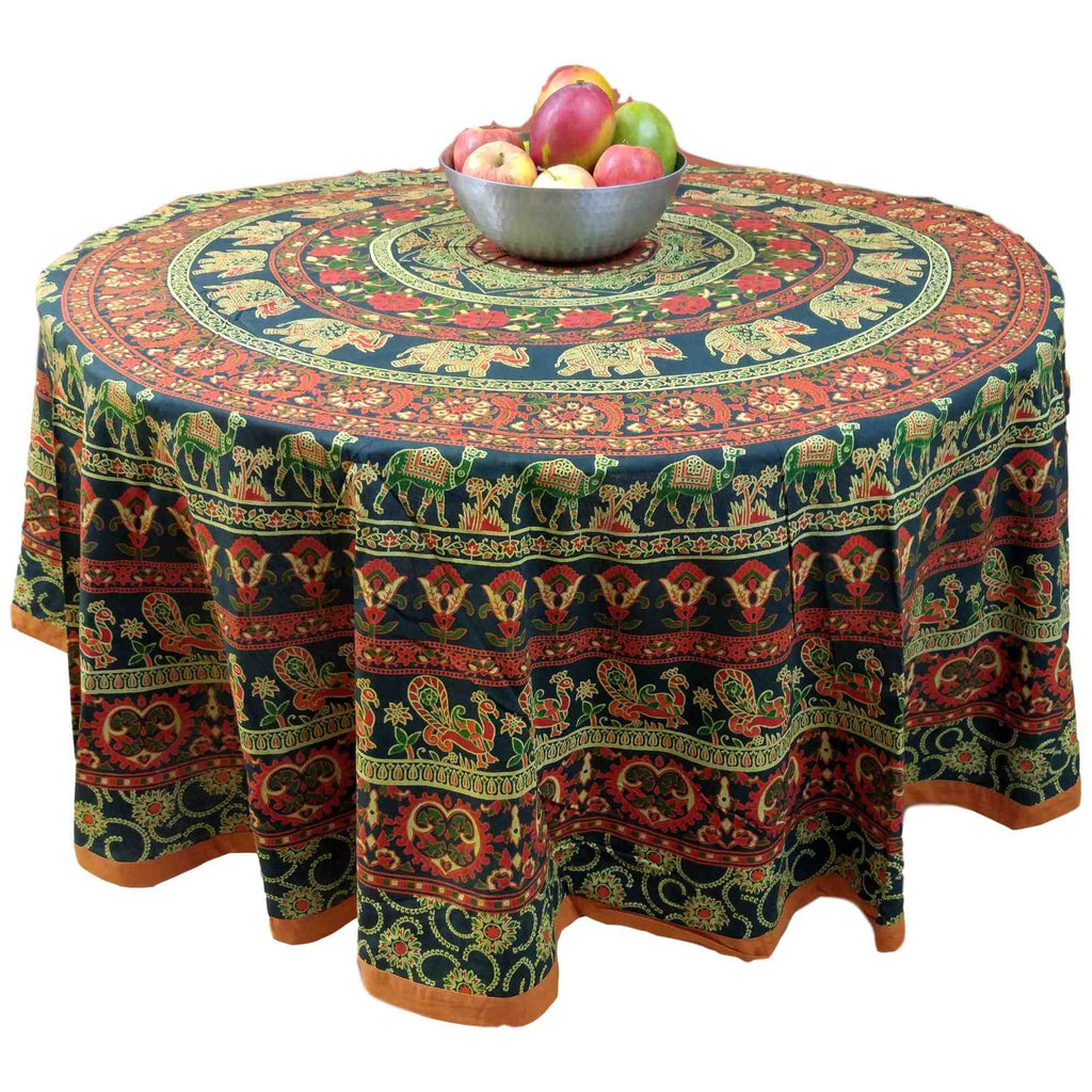 "Handmade 100% Cotton Elephant Mandala Floral 81"" Round Tablecloth Blue Orange Green Cream - Sweet Us"
