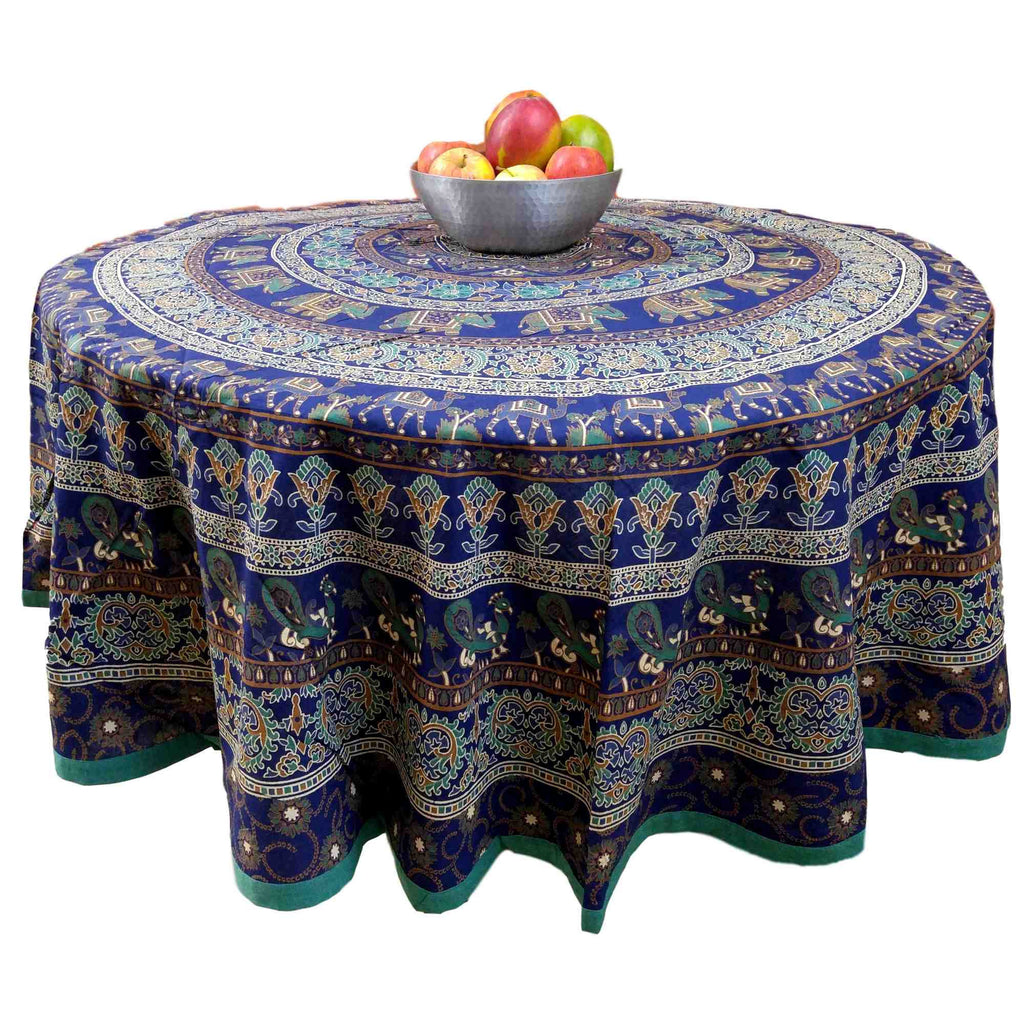 "Handmade 100% Cotton Elephant Mandala Floral 81"" Round Tablecloth Blue Teal Green Golden Brown - Sweet Us"