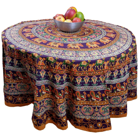 "Handmade 100% Cotton Elephant Mandala Floral 81"" Round Tablecloth Burgundy Mustard Orange Green - Sweet Us"