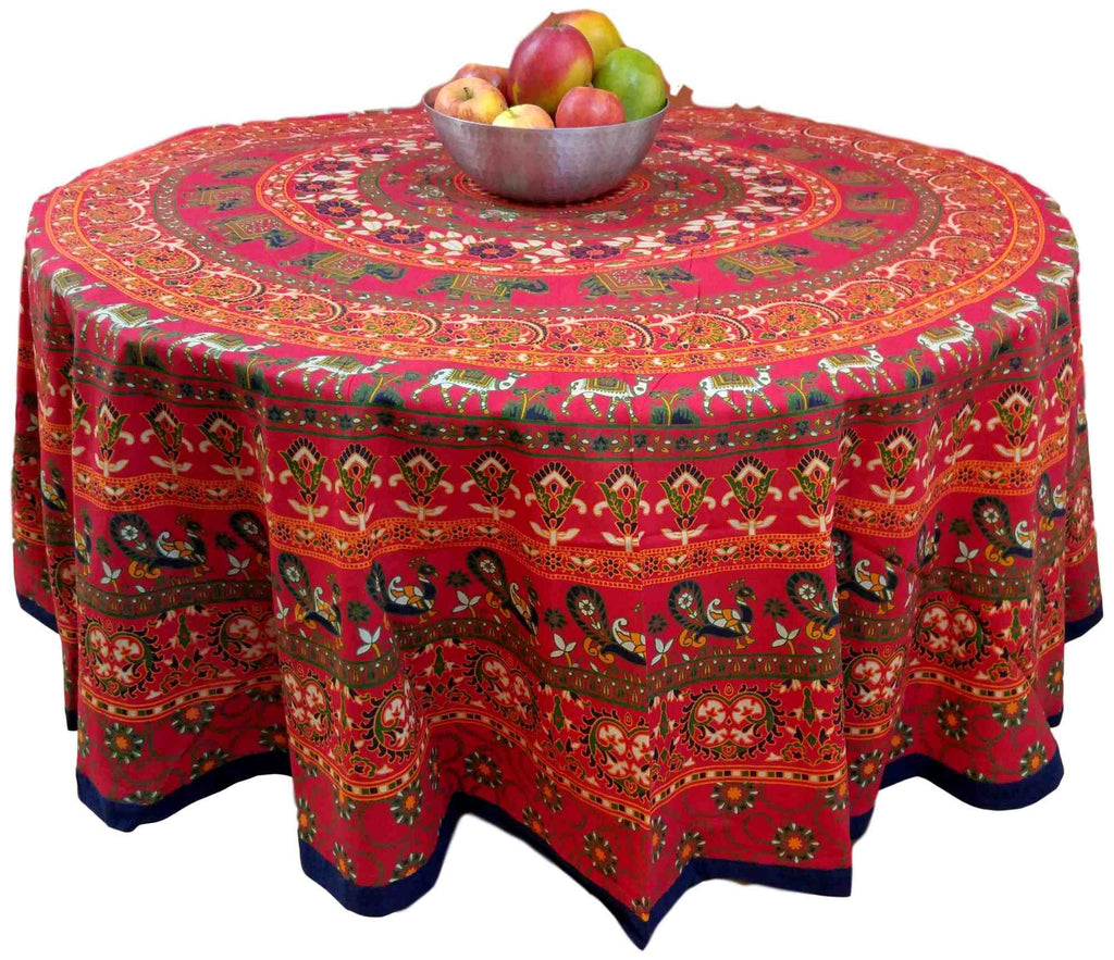 "Handmade 100% Cotton Elephant Mandala Floral 81"" Round Tablecloth Red Blue Saffron Green - Sweet Us"