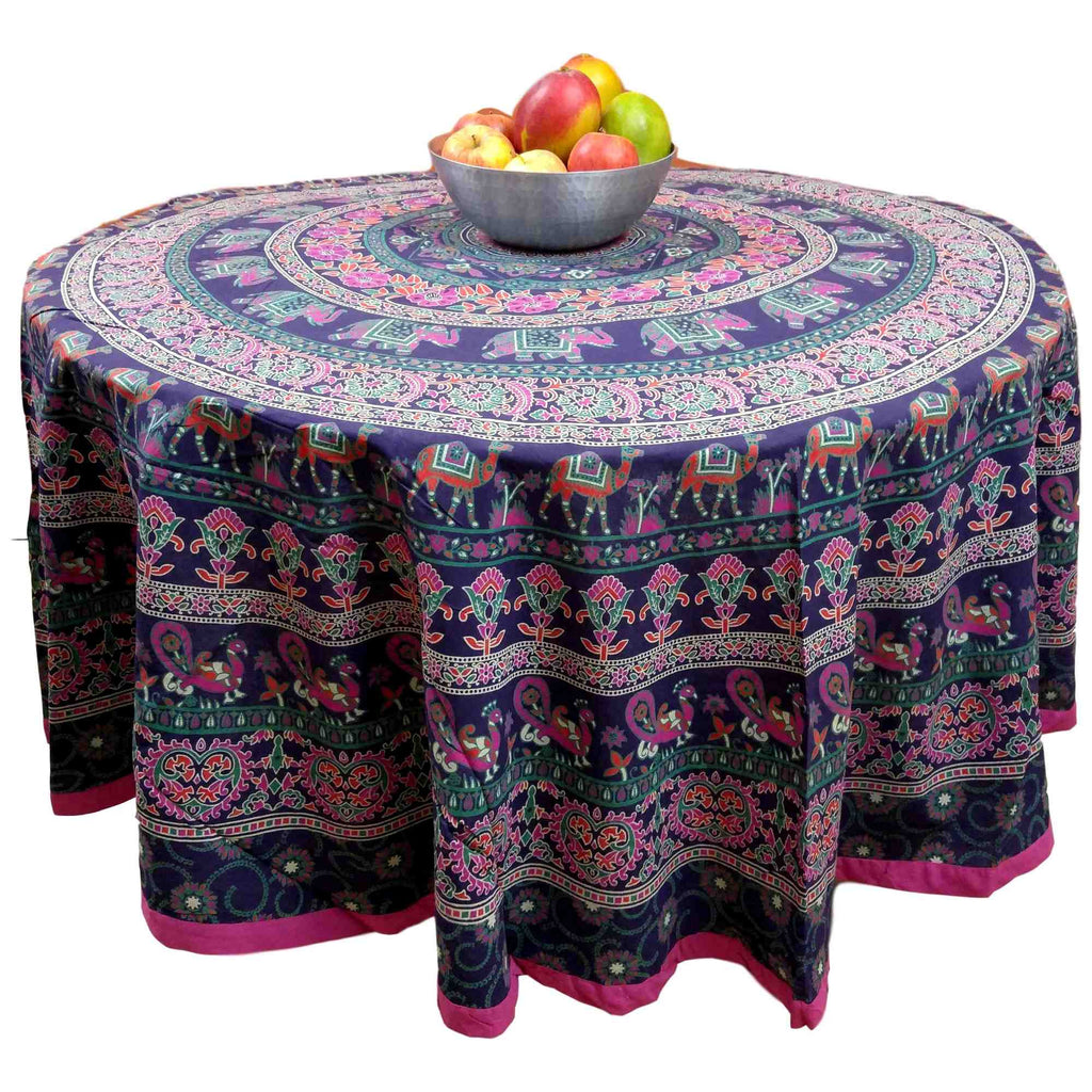 "Handmade 100% Cotton Elephant Mandala Floral 81"" Round Tablecloth Blue Pink Green Orange - Sweet Us"