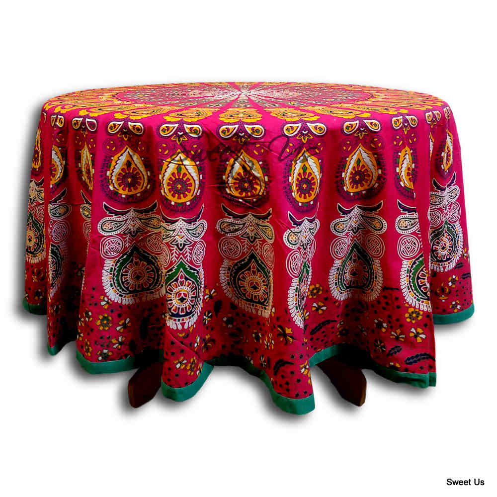 Cotton Elephant Mandala Floral Tablecloth Round 81 in Red Orange Green