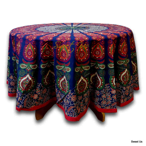 Cotton Elephant Mandala Floral Tablecloth Round 81 in Blue Red Orange Green