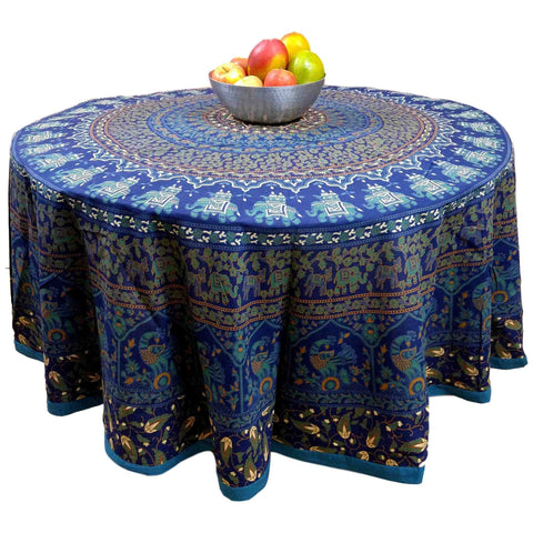 "Handmade 100% Cotton Elephant Mandala Floral 81"" Round Tablecloth Blue - Sweet Us"