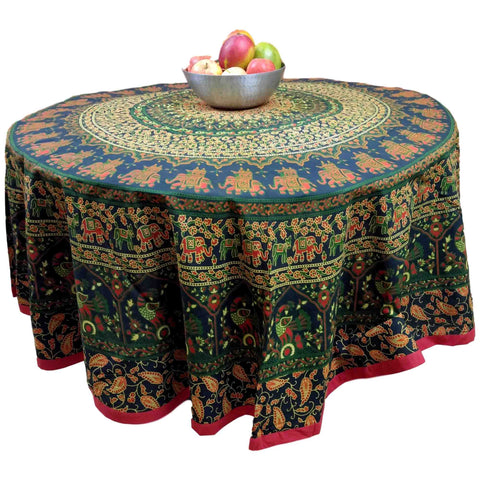 "Handmade 100% Cotton Elephant Mandala Floral 81"" Round Tablecloth Green Red - Sweet Us"