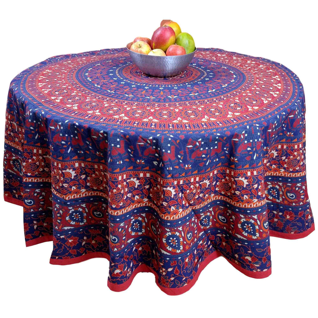 "Handmade 100% Cotton Elephant Mandala Floral 81"" Round Tablecloth Blue Red - Sweet Us"