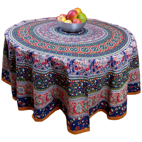 "Handmade 100% Cotton Elephant Mandala Floral 81"" Round Tablecloth Red Blue Orange Green"