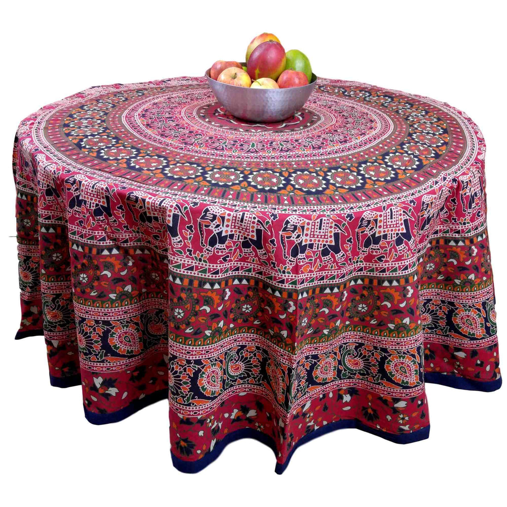"Handmade 100% Cotton Elephant Mandala Floral 81"" Round Tablecloth Blue Red Orange Green - Sweet Us"
