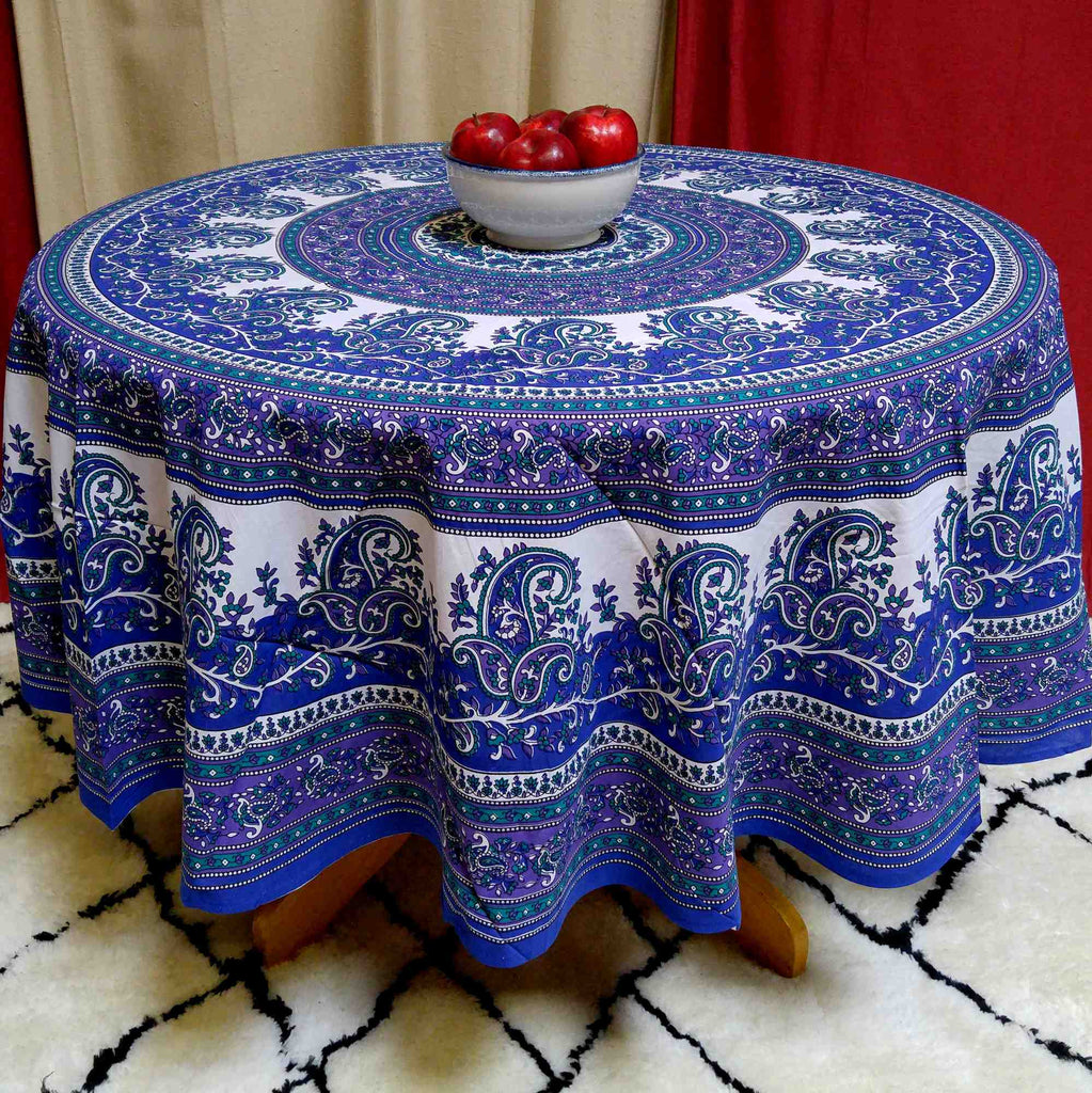 Cotton Mandala Paisley Floral Tablecloth Round 72 inches Blue Purple - Sweet Us