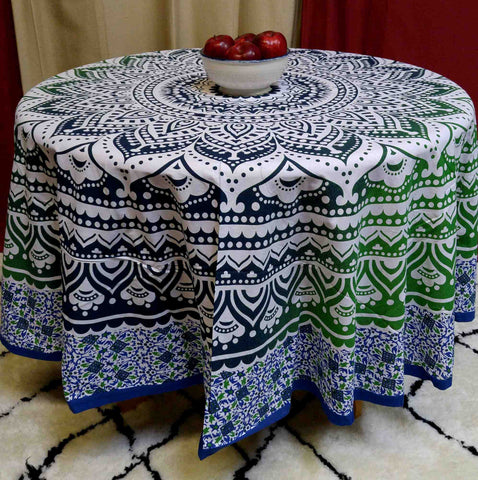 "Handmade 100% Cotton Floral Medallion Design 81"" Inch Round Tablecloth Beach Sheet Beach Throw Blue Green"