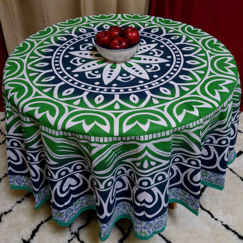 "Handmade 100% Cotton Floral Heart Design 81"" Inch Round Tablecloth Beach Sheet Beach Throw Blue Green"
