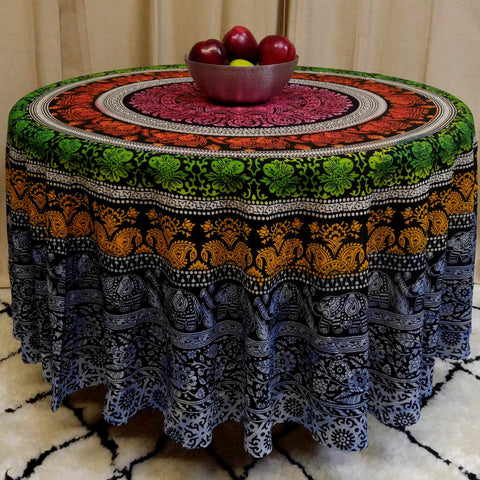 "Handmade 100% Cotton Elephant Mandala Floral 81"" Round Tablecloth Blue Green Yellow Red - Sweet Us"