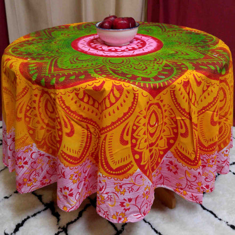 "Handmade 100% Cotton Blooming Floral 81"" Round Tablecloth Beach Sheet Beach Throw - Sweet Us"