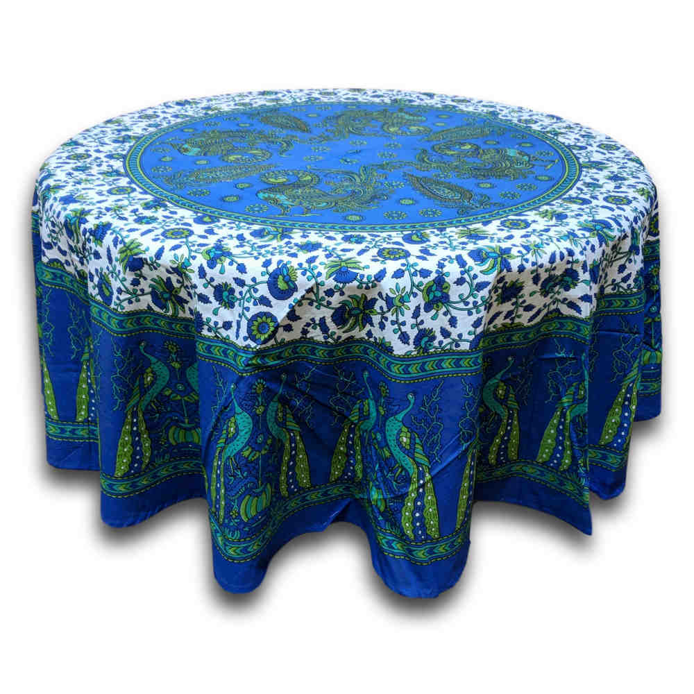 Cotton Peacock Floral Tablecloth Round 72 Inches Blue Green, Red Tan - Sweet Us