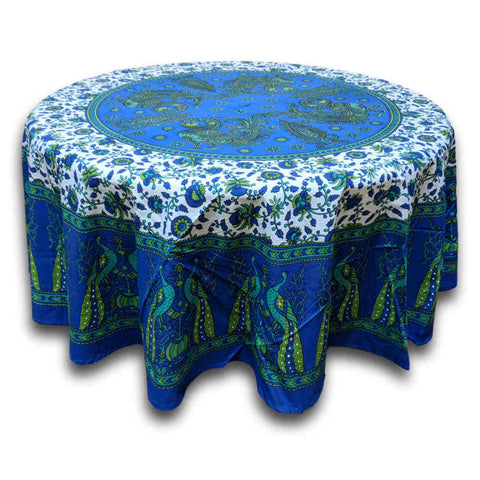 Cotton Peacock Floral Tablecloth Round 72 Inches Blue Green, Red Tan