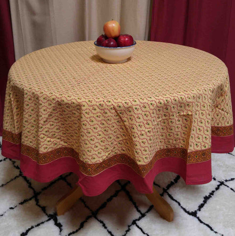 "Handmade 100% Cotton Floral Vine 60"" Inch Round Tablecloth Gold Red"