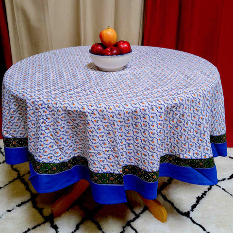 "Handmade 100% Cotton Floral Vine 72"" Round Tablecloth Blue Green Gold"