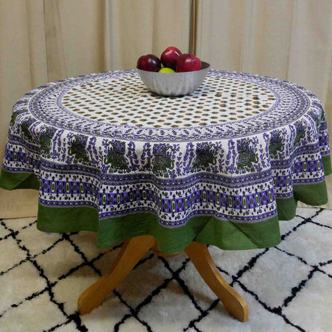 "Handmade 100% Cotton Elephant Mandala Floral 60"" Round Tablecloth Olive Green Purple Black - Sweet Us"